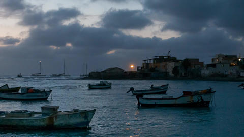 harbor on Cape Verde Islands Footage