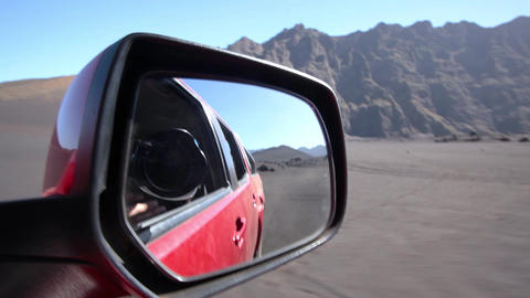 car reflecting in its own side mirror Footage