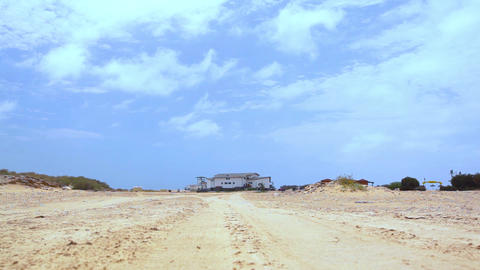White House In A Desert Areia On Boa Vista stock footage