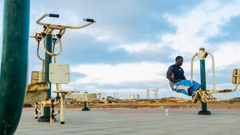 man working out on Cape Verde Footage