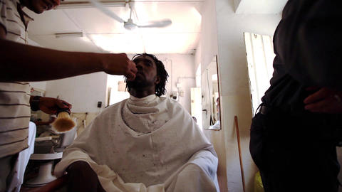 Man At The Barber In Santiago stock footage