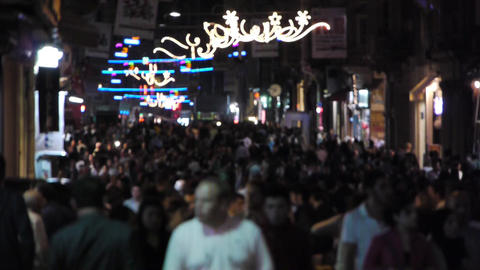Crowded street at night Stock Video Footage