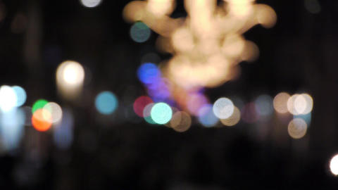 Defocus people on the street at night Stock Video Footage