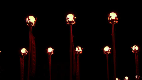 Red lanterns at night Stock Video Footage