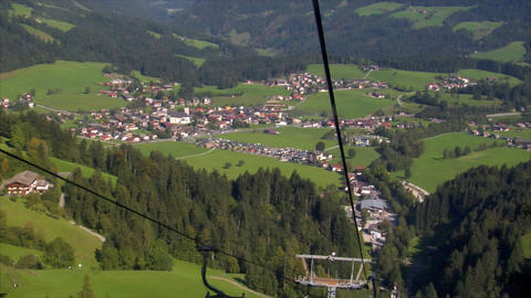 ropeway down city view Stock Video Footage
