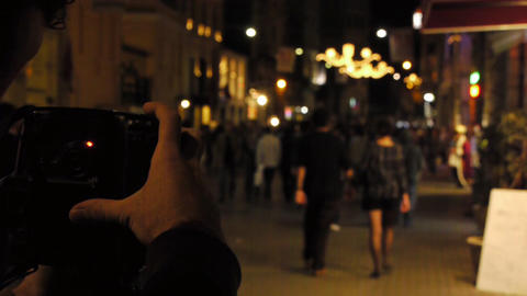 Taking pictures at night Stock Video Footage