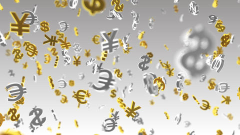 Money Symbol 2B dollar Euro Yen w Stock Video Footage