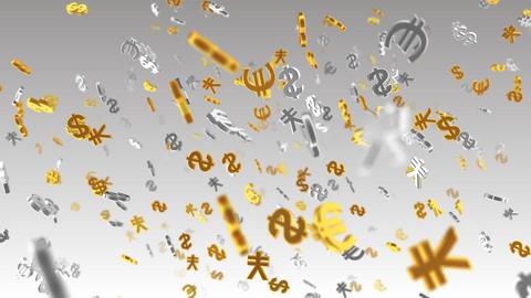 Money Symbol 2E dollar Euro Yen w HD Stock Video Footage