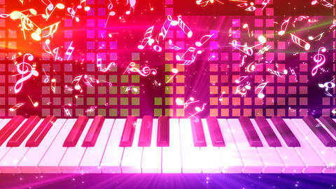 Music keyboard 2d CG動画