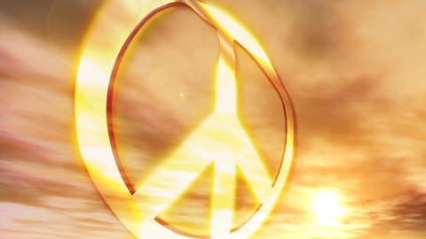 1181 HDjpg Peace Symbol Sunset Couds Glowing Animation CG動画素材