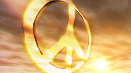1181 HDjpg Peace Symbol Sunset Couds Glowing Animation Stock Video Footage