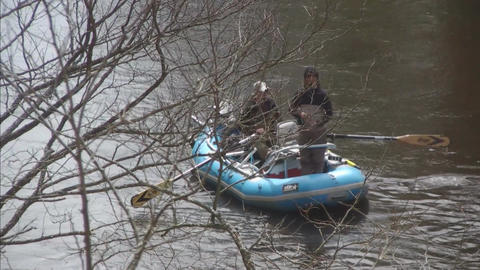 Boat with two men on river Footage
