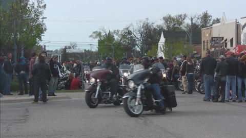 Motorcycle tough bikers traveling toward viewer Stock Video Footage