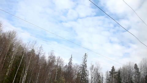 View from train on forest and sky Stock Video Footage
