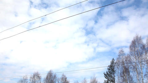 wire and sky on railway Stock Video Footage