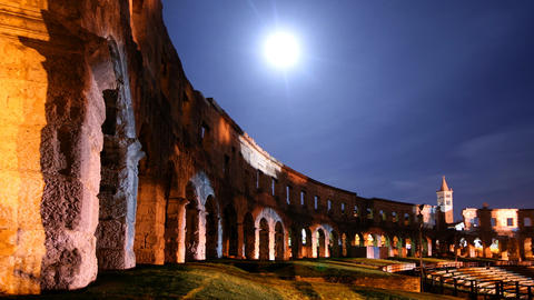 Ancient amphiteatre under the Moon Stock Video Footage
