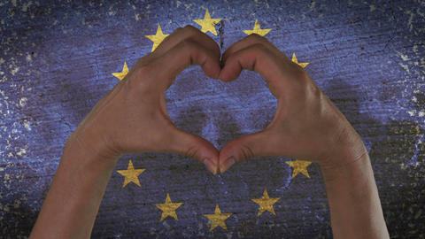 Hands Heart Symbol European Flag Footage
