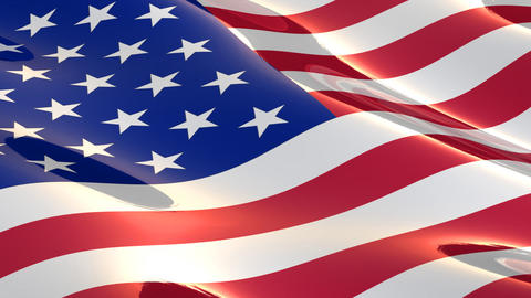 Shiny, glossy flag of the USA seamless loop Animation