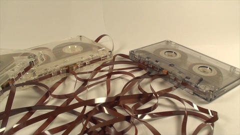 Broken Audio Cassettes Isolated On White, Loose Ta Live Action