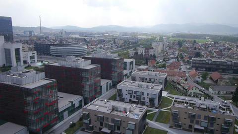 AERIAL: Business buildings in big city Footage