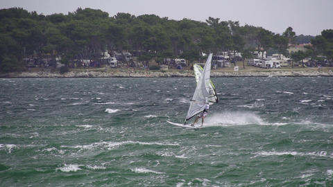 SLOW MOTION: Windsurfers Footage