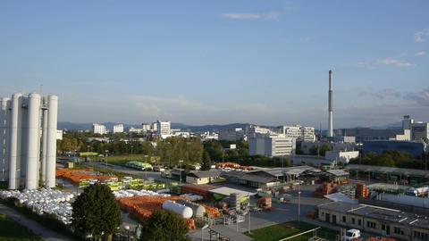AERIAL: Factory Footage