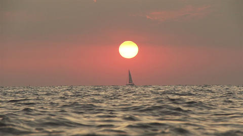 SLOW MOTION: Yacht sailing at seaside Live Action