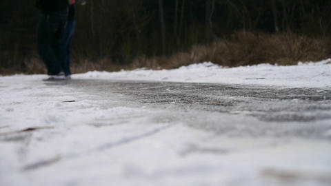 Sliding on ice Footage