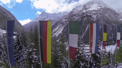 AERIAL: European Flags stock footage