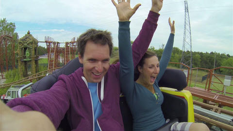 Young couple on a rollercoaster Footage