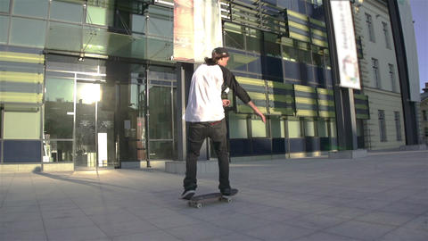 Young skateboarder performing tricks Footage