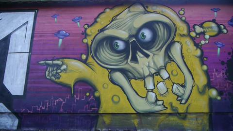 Graffiti on the wall Footage