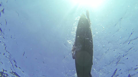 UNDERWATER: Surfer paddling out Footage