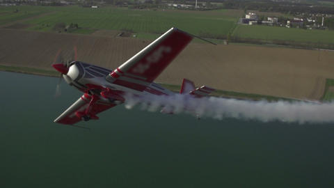 SLOW MOTION: Aerobatic Aircraft In The Air stock footage