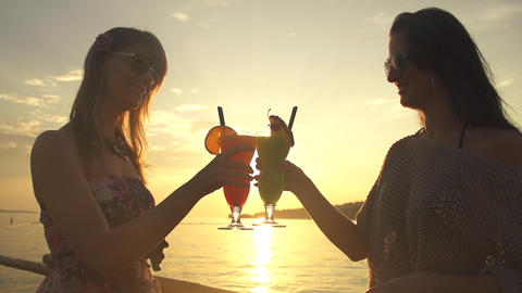 Friends Toasting At Sunset stock footage