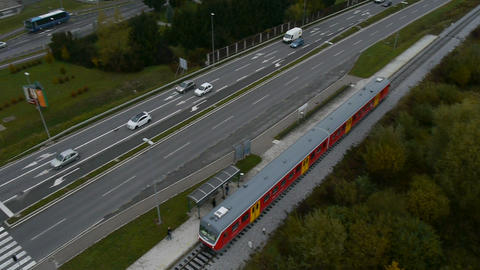 AERIAL: Train approaching the station Footage