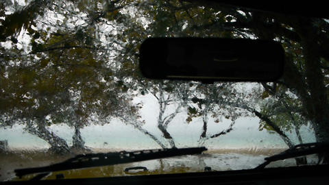Waiting in a car during tropical thunderstorm Live Action