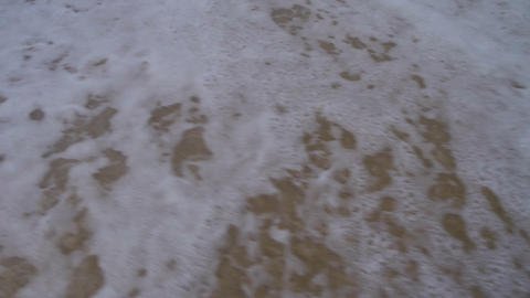 Word dreams written in the sand and washed away Footage