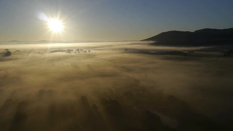 Aerial Shot Of Misty Land stock footage