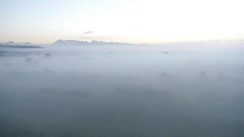 AERIAL: Misty land Footage