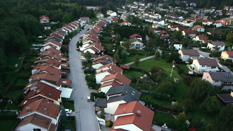 AERIAL: Flight over suburban houses Footage