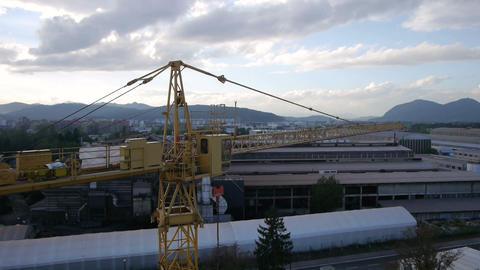 AERIAL: Construction crane Footage