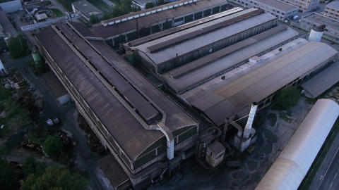 AERIAL: Old factory Footage