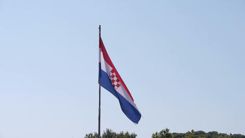 Croatian flag waving in wind Footage