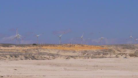 Wind turbines in desert Footage