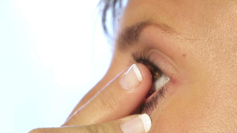 Inserting contact lense Footage