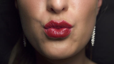 Close-up: Woman sending kiss Footage