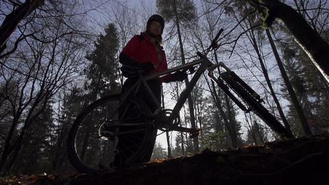 Portrait of a mountain biker Footage