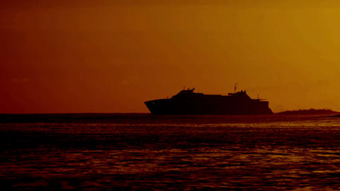 Ferry At Sunrise stock footage