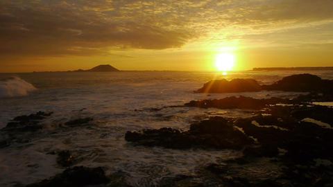 AERIAL: Sunrise at seaside Footage